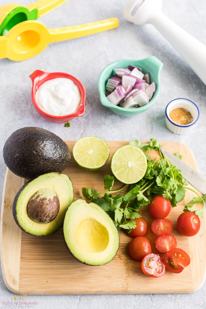 Ingredients to make homemade guacamole