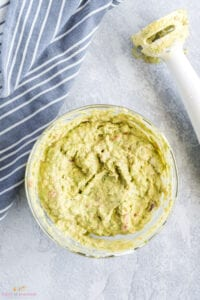 Ingredients blended to make guacamole