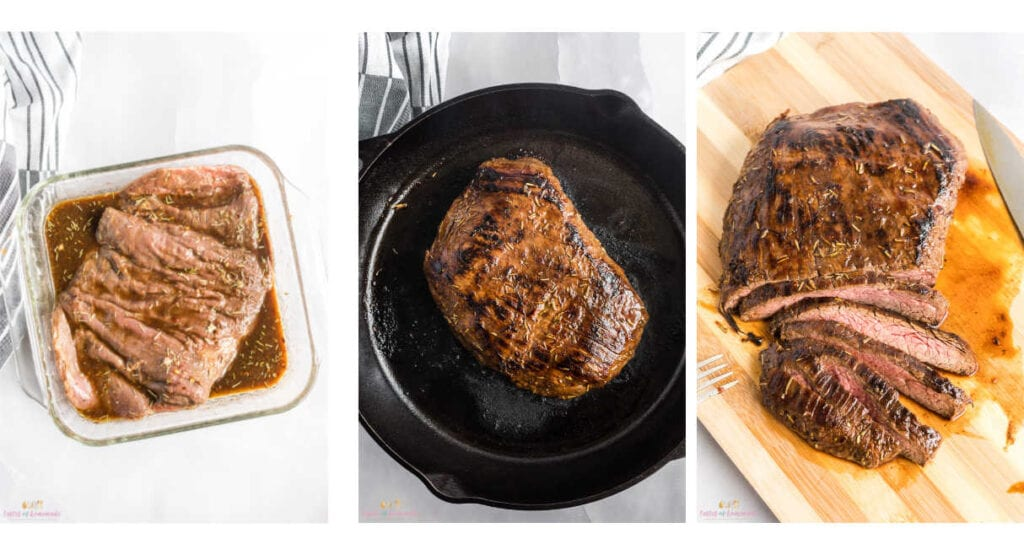 Collage showing steps to cooking flank steak