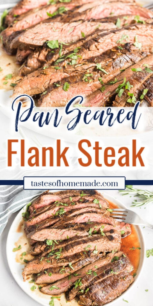 Pin image of sliced flank steak with text overlay