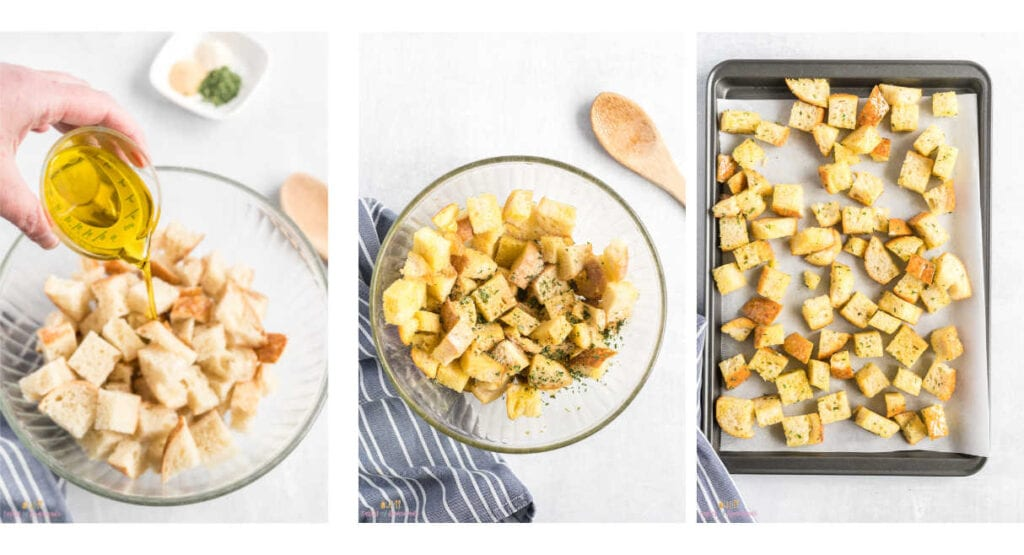 Collage of three images showing steps in making croutons