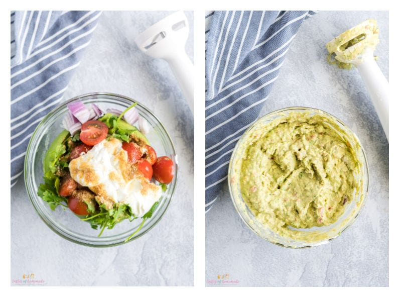 process photos showing how to make guacamole