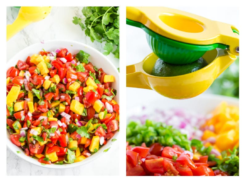 Image showing lime being added and salsa being mixed.