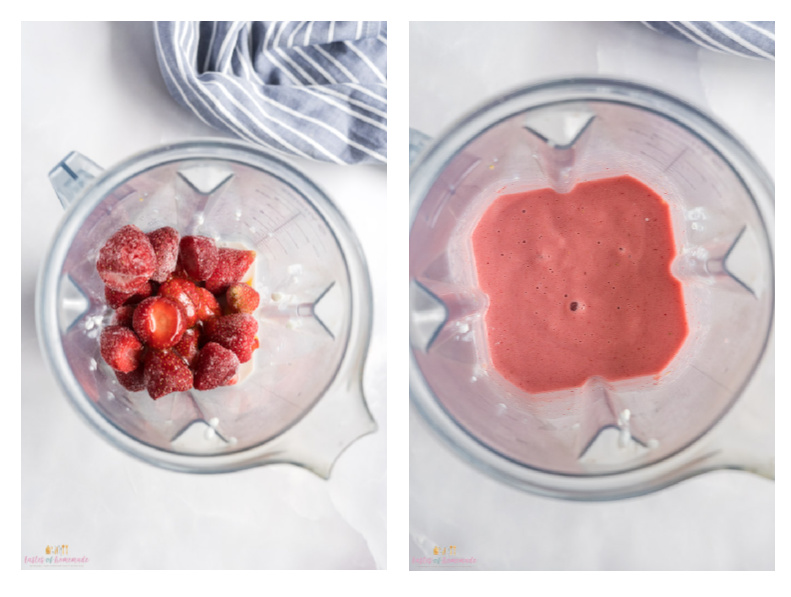 Photos showing before and after of smoothie being made in a blender.
