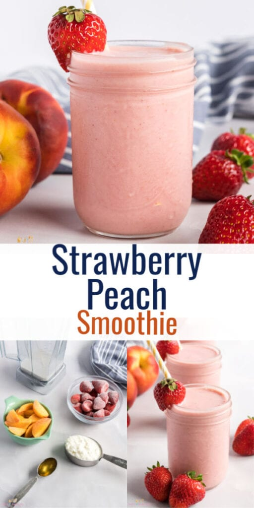 Pin image of strawberry peach smoothie with text overlay
