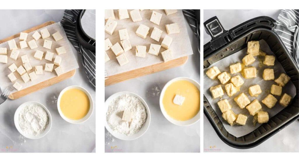 Process steps to making fried tofu