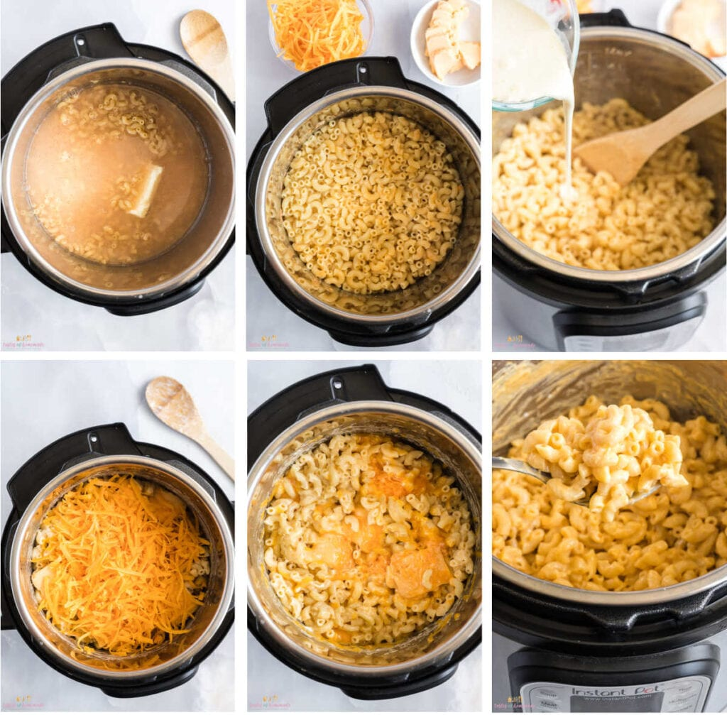 Process images showing how to make Mac and cheese