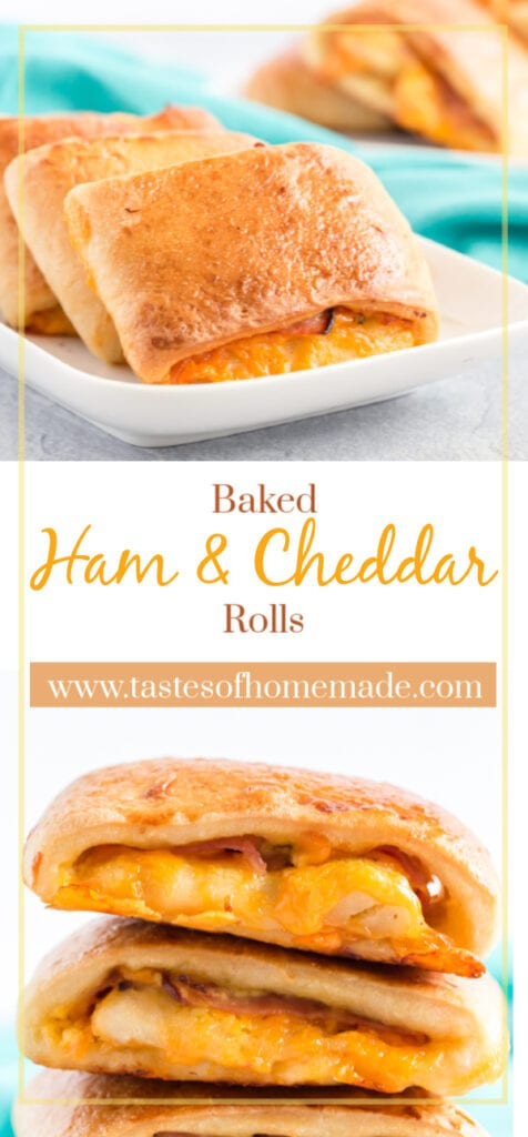 Pin image of ham and cheese rolls with text overlay