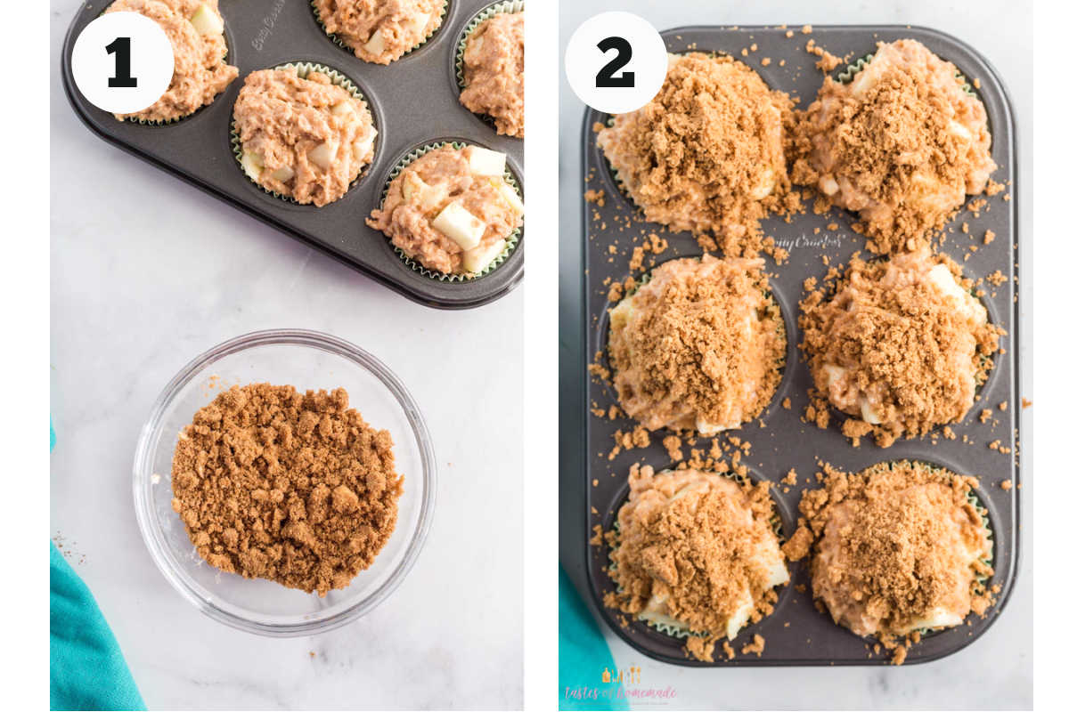 Process showing adding streusel to muffin tops.