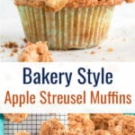 Collage of apple muffins with text overlay.