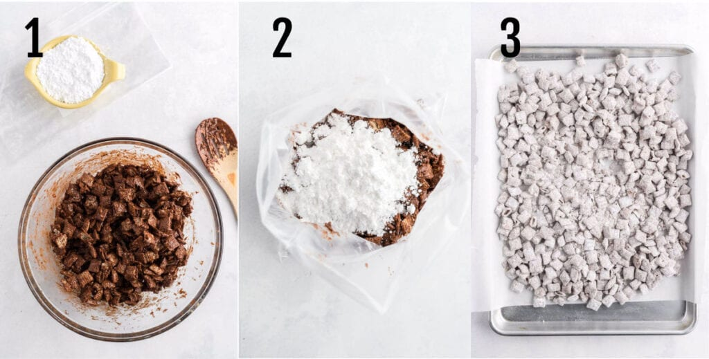 Collage showing the steps to making muddy buddies.