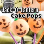Collage of halloween cake pops with text overlay.