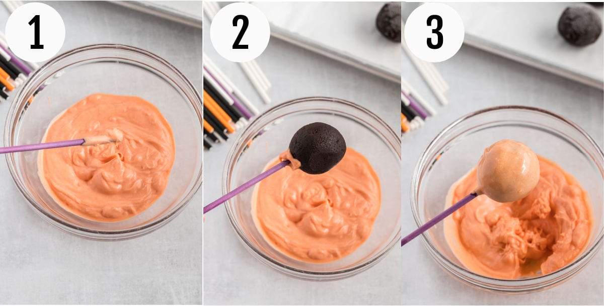 Collage of photos showing how to dip cake pops in chocolate.