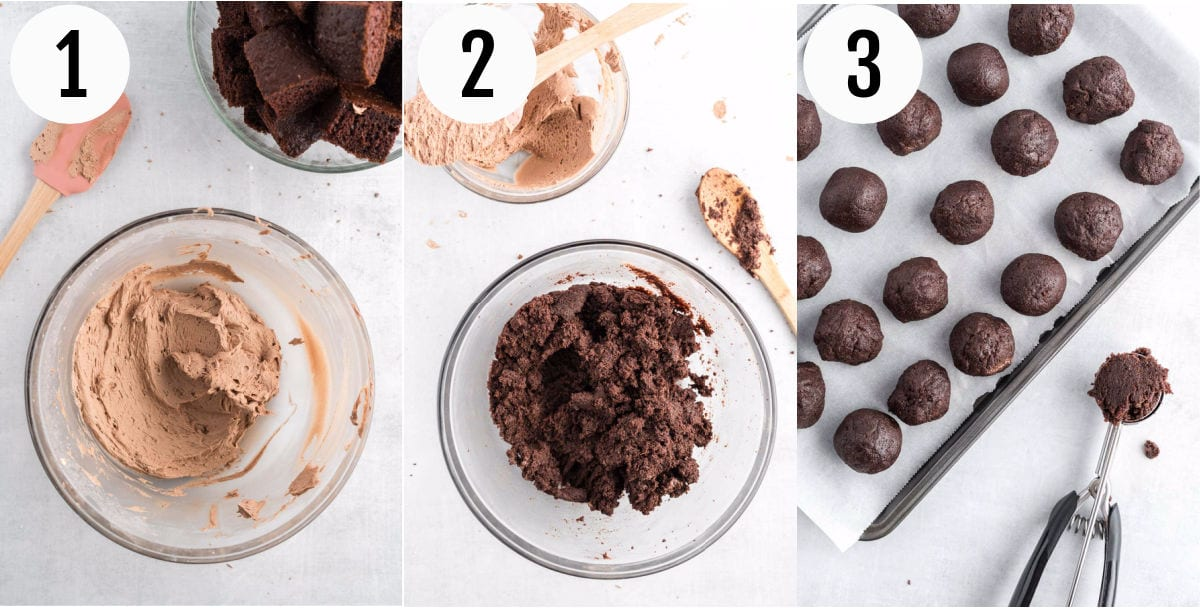 Collage of photos showing steps to make cake balls.