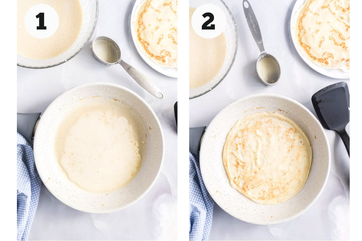 Process images showing how to cook crepes.