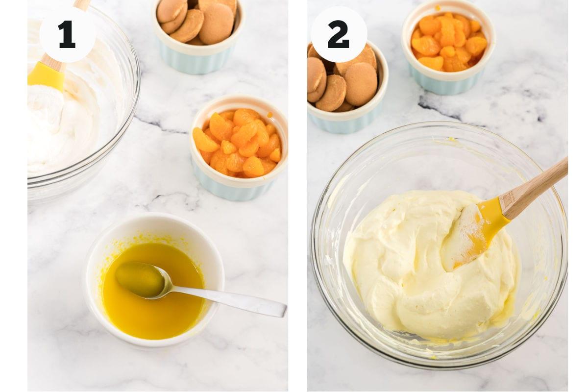 Process shots showing how to make lemon cream.