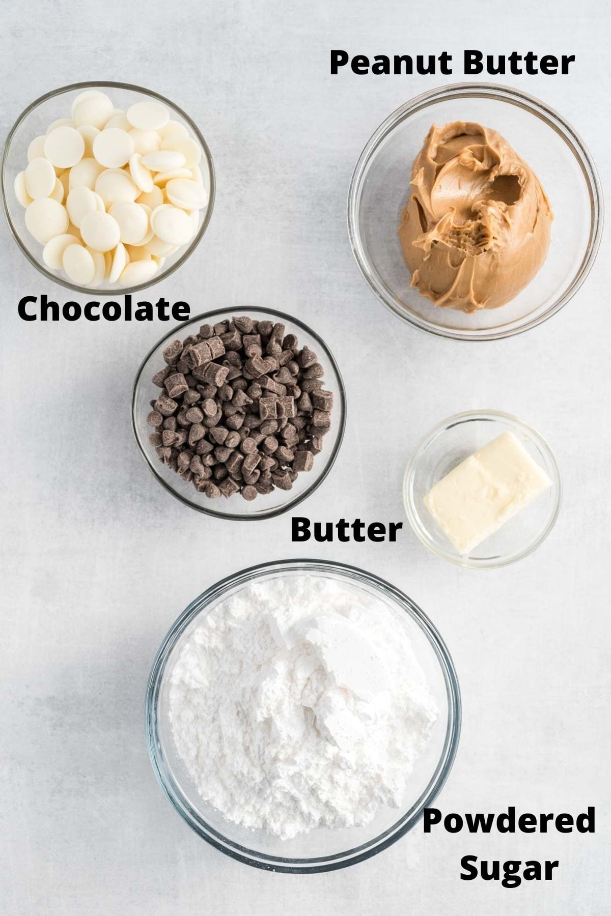 Ingredients to make peanut butter balls.