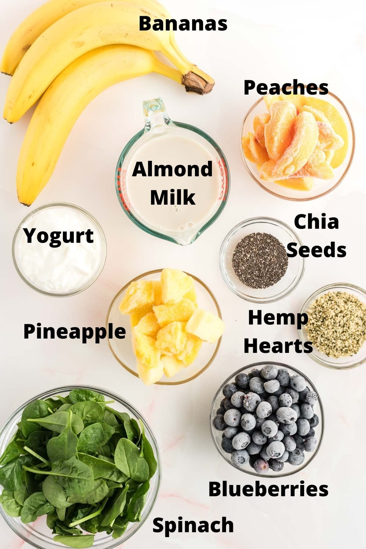 Ingredients for making fruit smoothies.