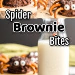 Collage of spider brownie bite images with text overlay.
