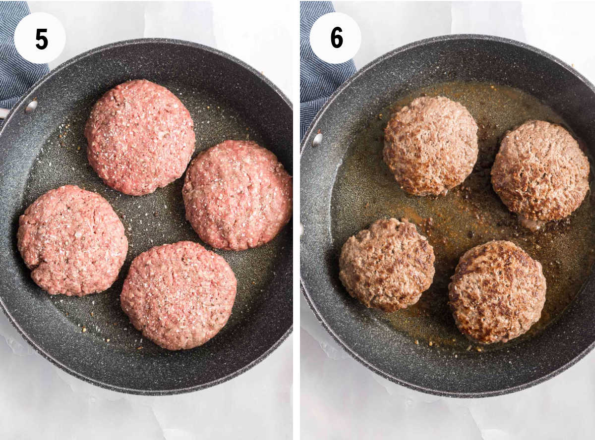 Process showing cooking four burger patties in a large skillet.