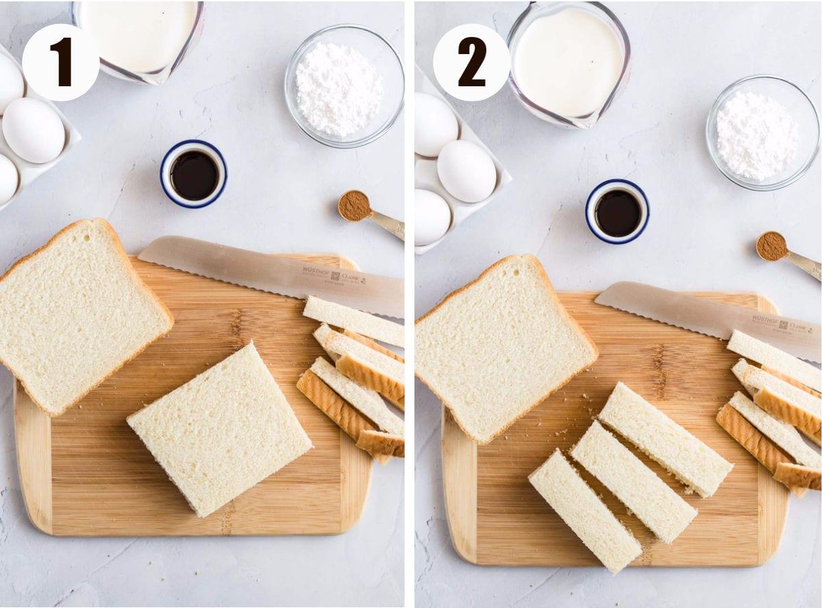 Crusts cut off bread and cut into sticks on a cutting board.