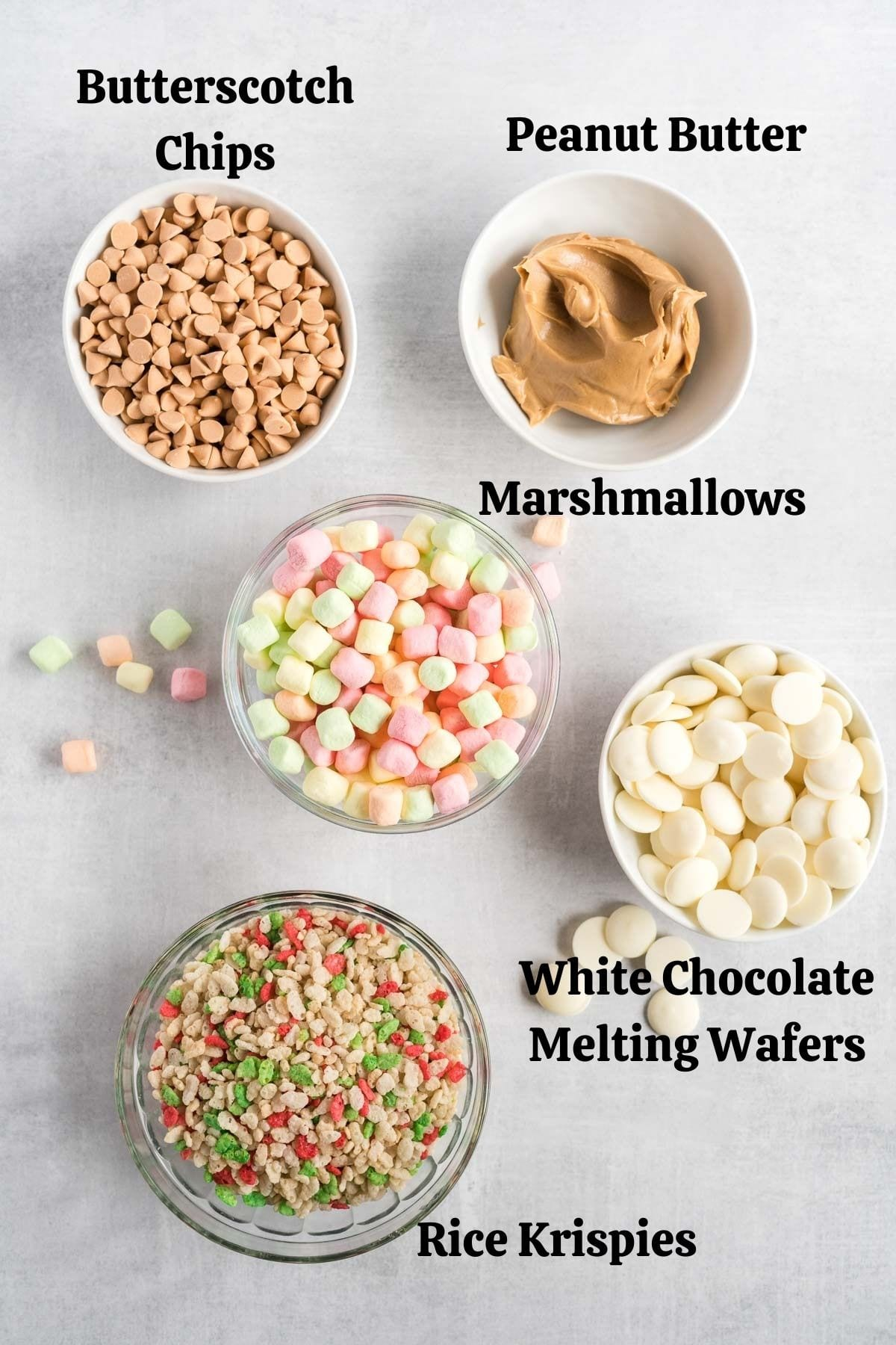 Ingredients needed for avalanche cookies.