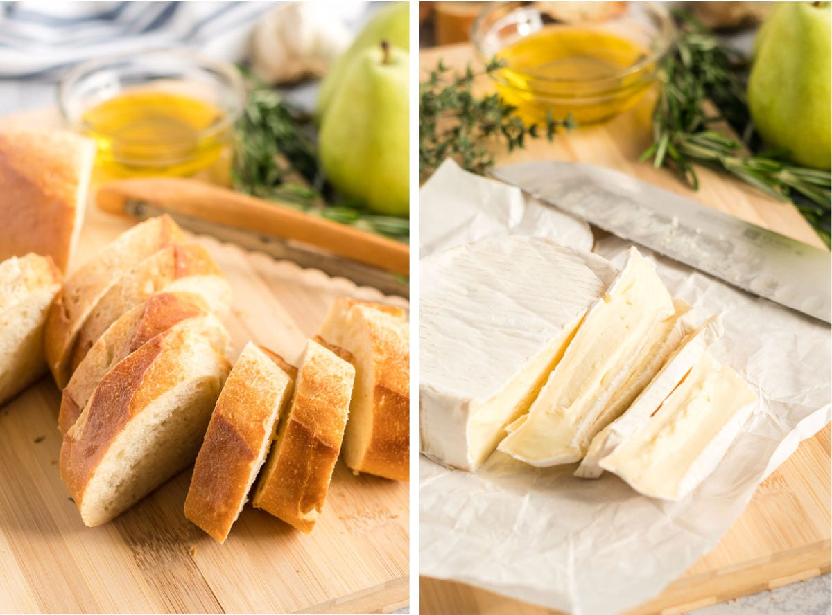 Sliced baguette and sliced brie.