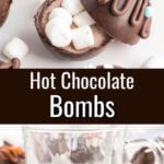 Hot chocolate bomb in a glass mug with text overlay.