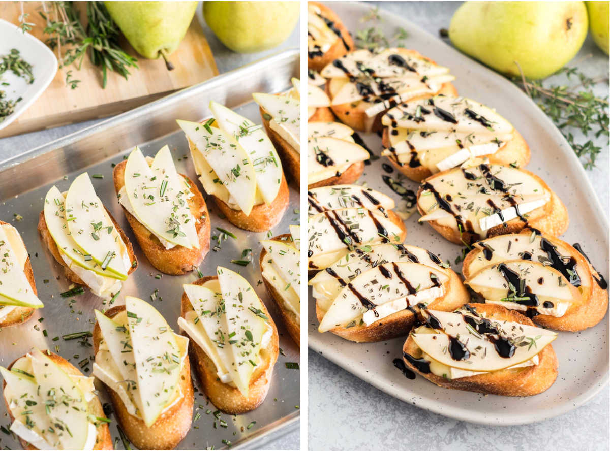 Before and after of baked crostini.