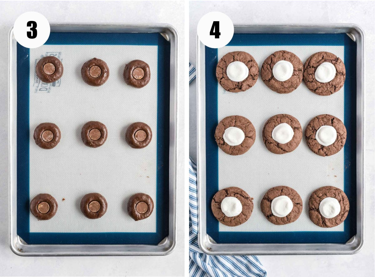 Chocolate cookies before and after baking.