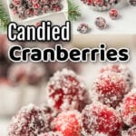 Collage of sugared cranberry images with text overlay.