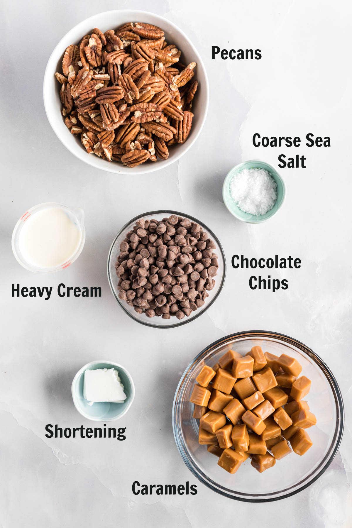 Ingredients to make pecan turtle clusters.