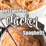 Collage of chicken spaghetti images with text overlay.