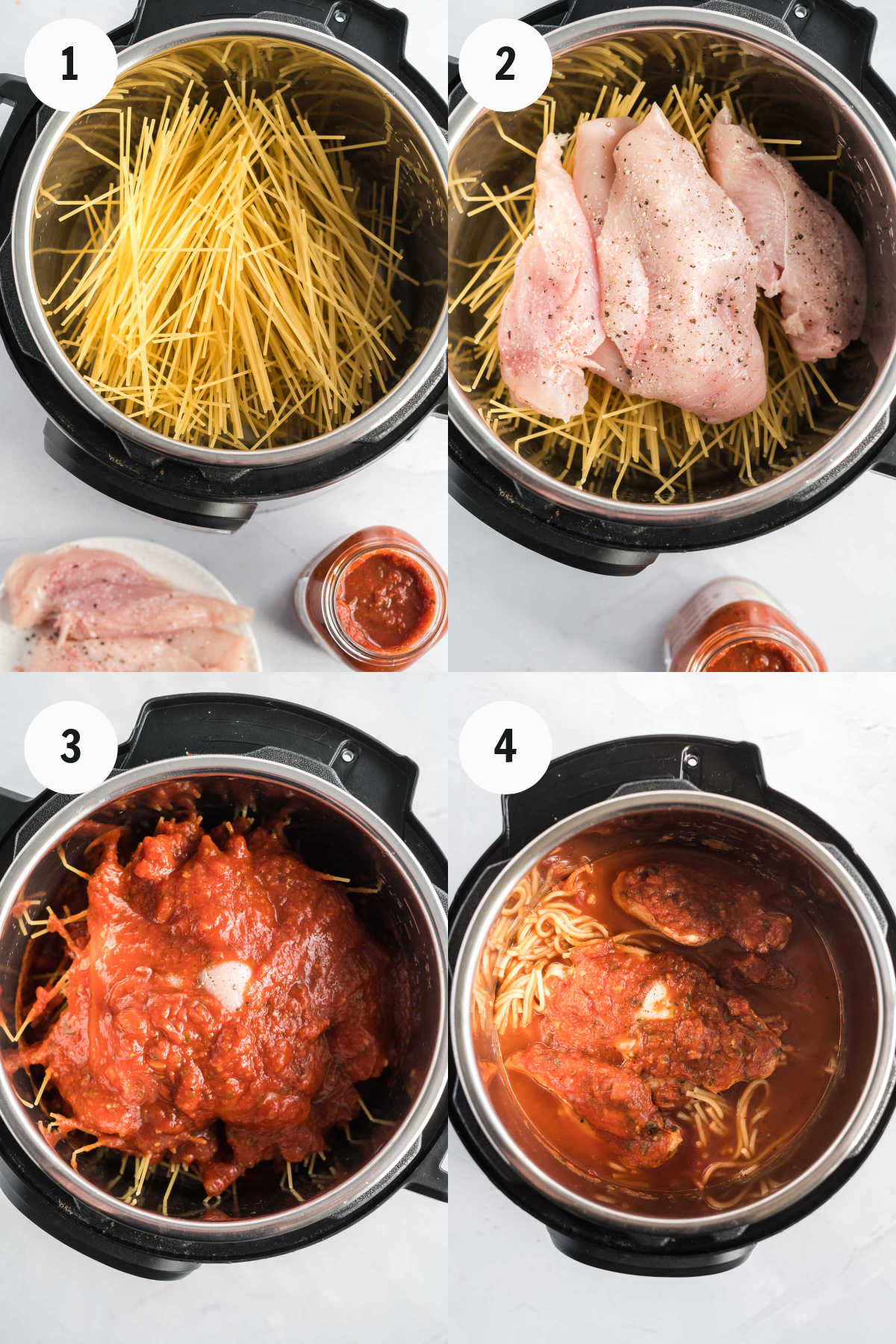 Process images showing how to make chicken spaghetti.