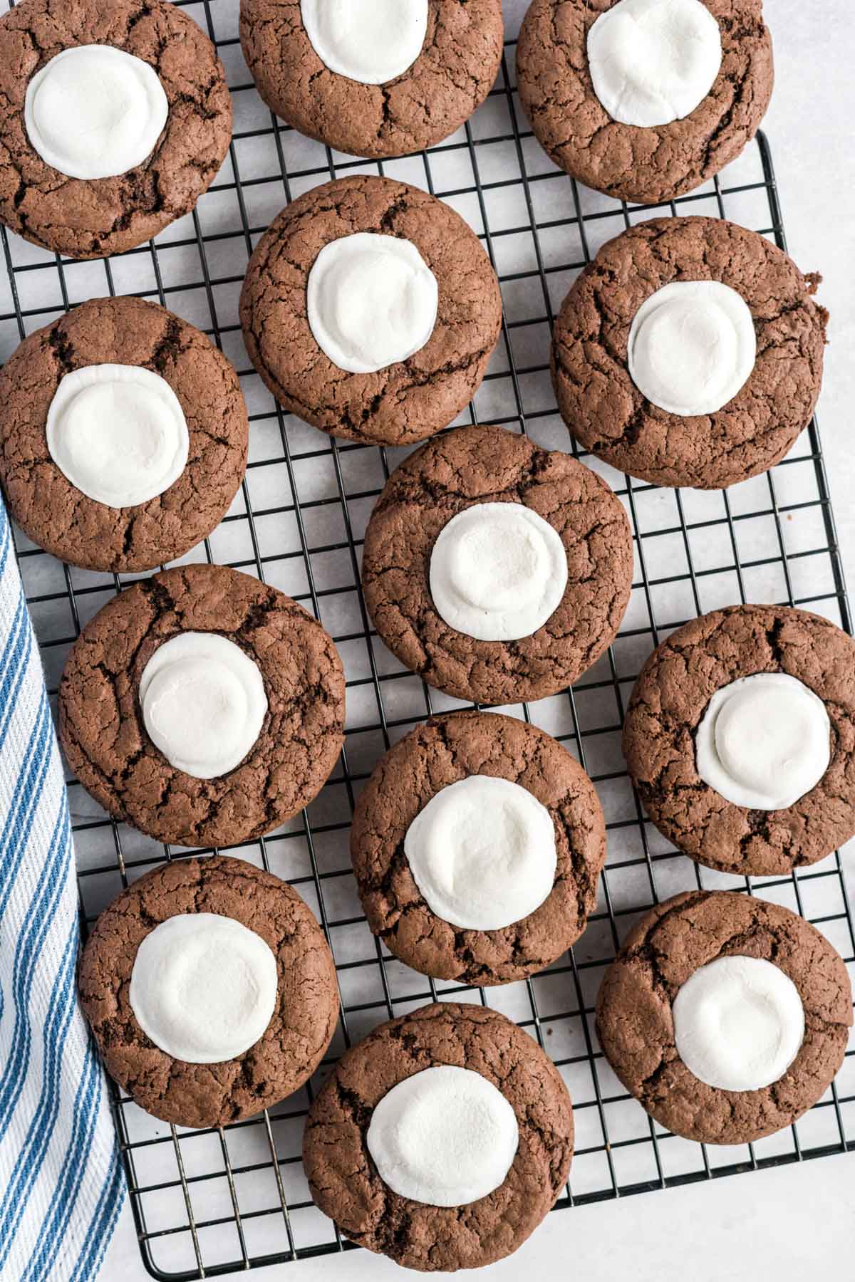 Hot chocolate cookies on a cooling rack.