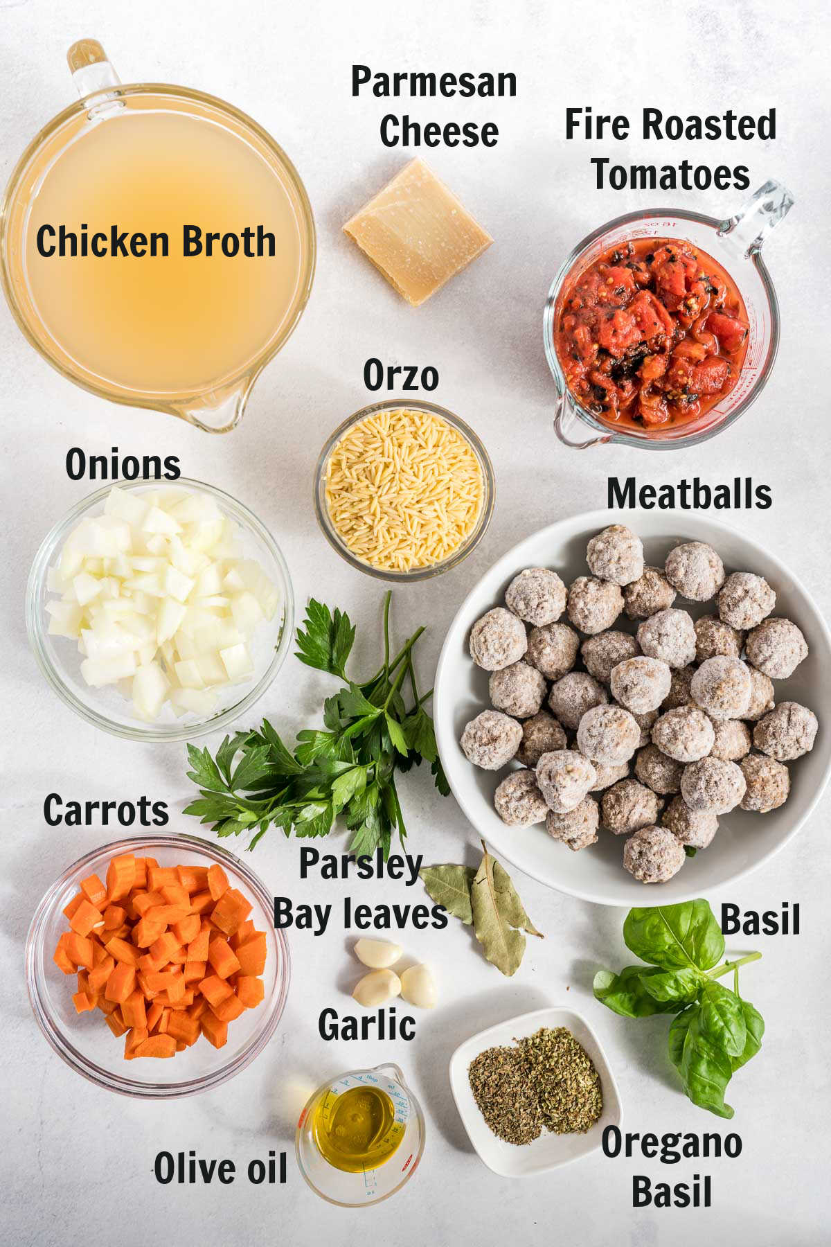 Ingredients for making meatball soup.