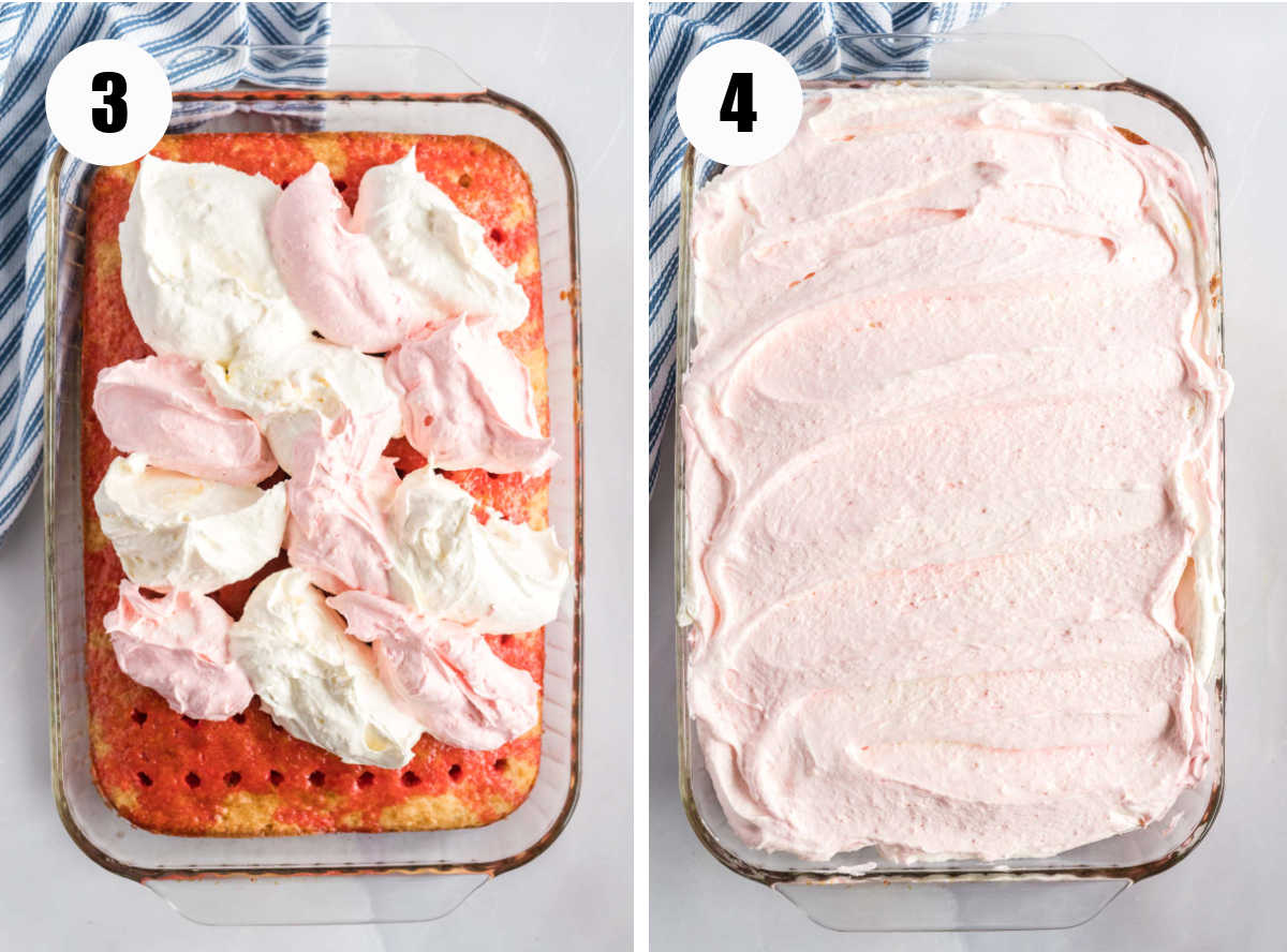 Icing the cake with white and pink cool whip topping.