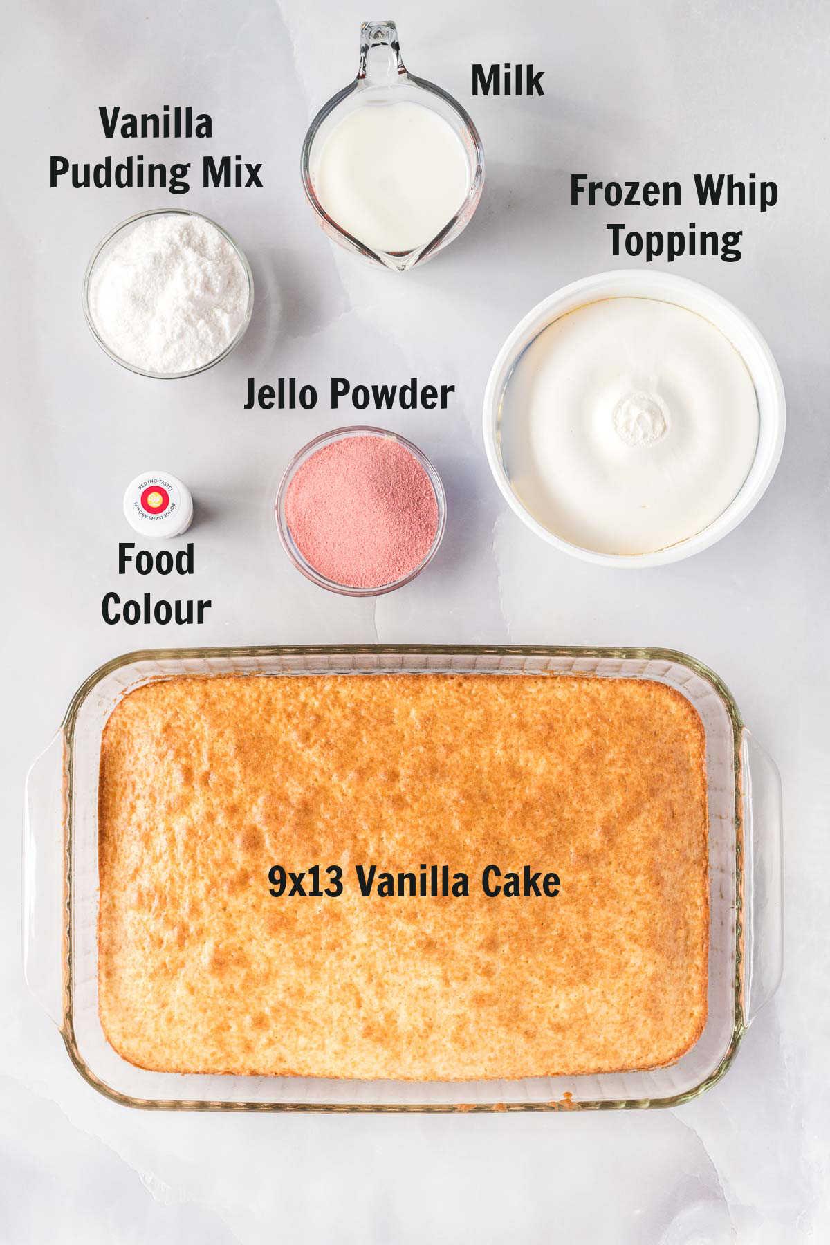 Ingredients to make jello poke cake.