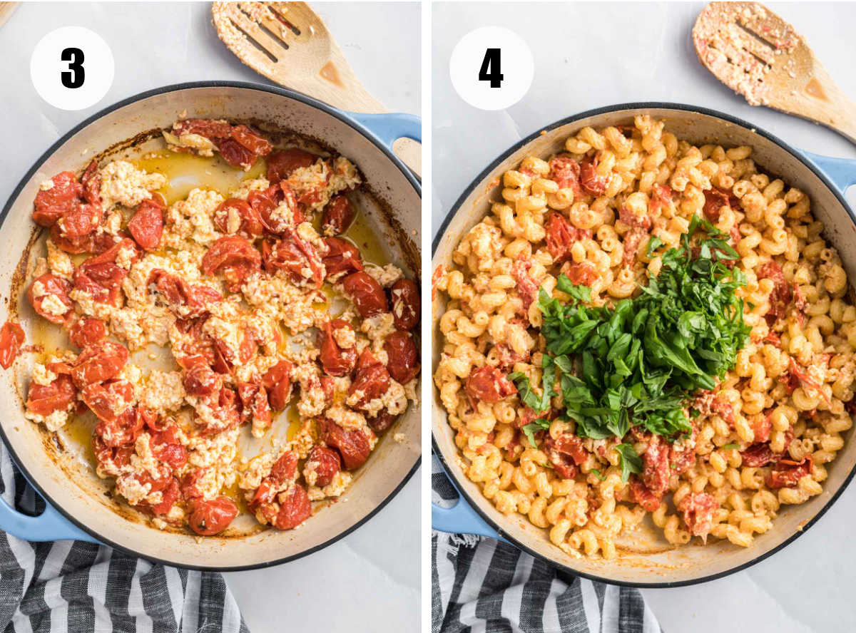 Tomatoes and feta melted and mixed and pasta and basil added.