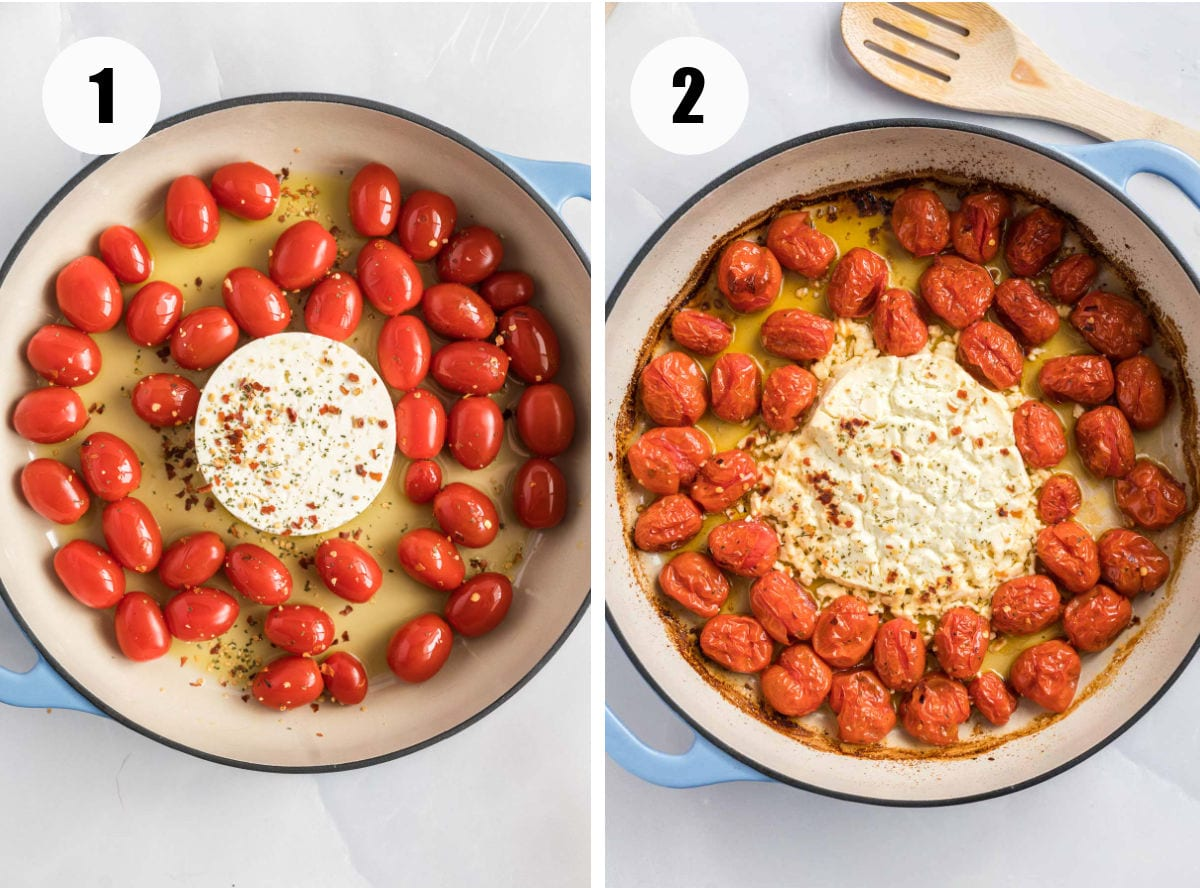 Feta and tomatos in a casserole dish before and after baking.