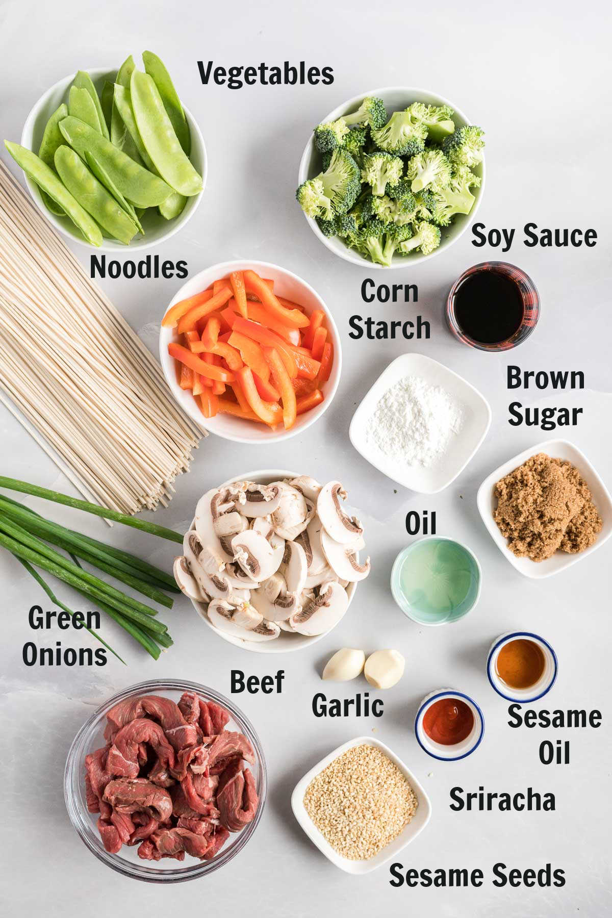 Ingredients to make lo mein