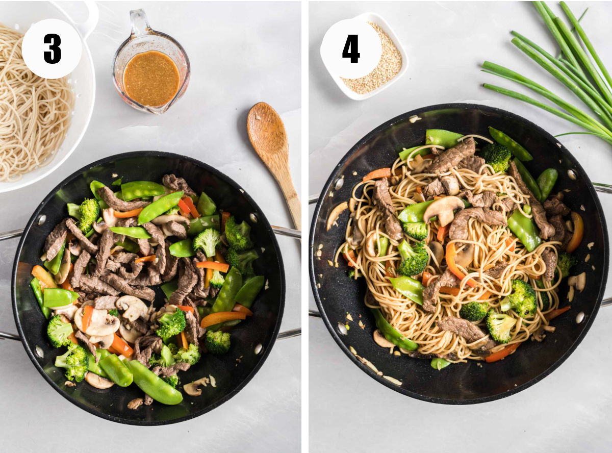 Two images showing beef, vegetables and sauce cooked together in wok.