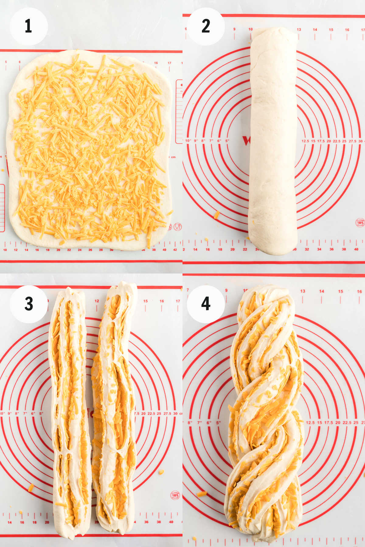 Process of filling dough with cheese, rolling and twisting.