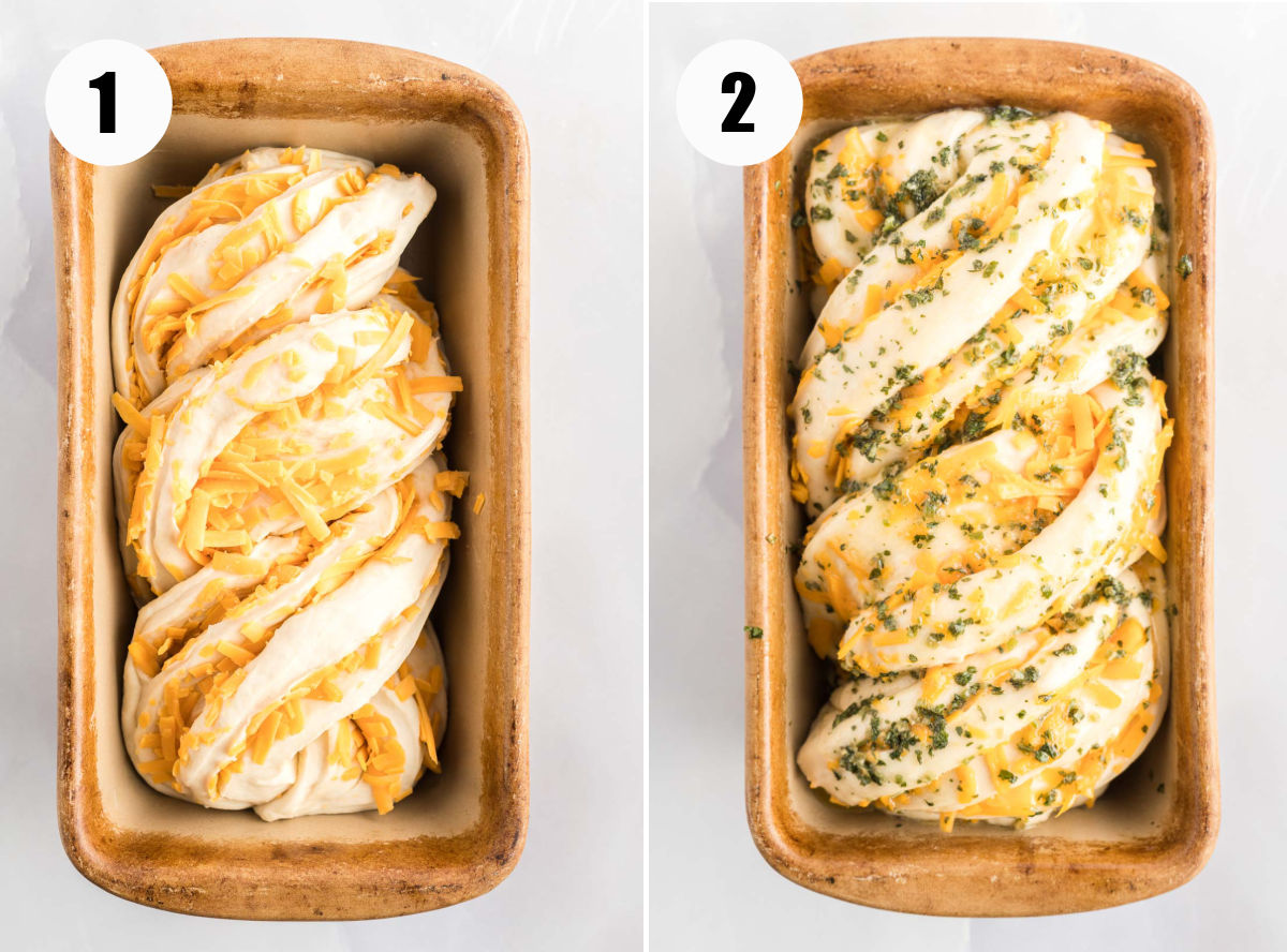 Cheese bread in a stone loaf pan before and after rising.