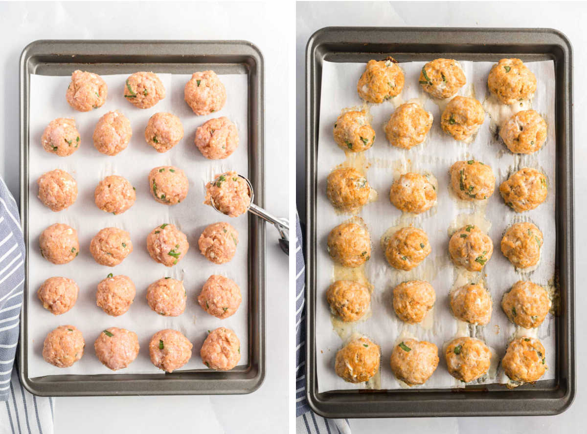 Turkey meatballs on a 9x13 baking sheet before and after baking.