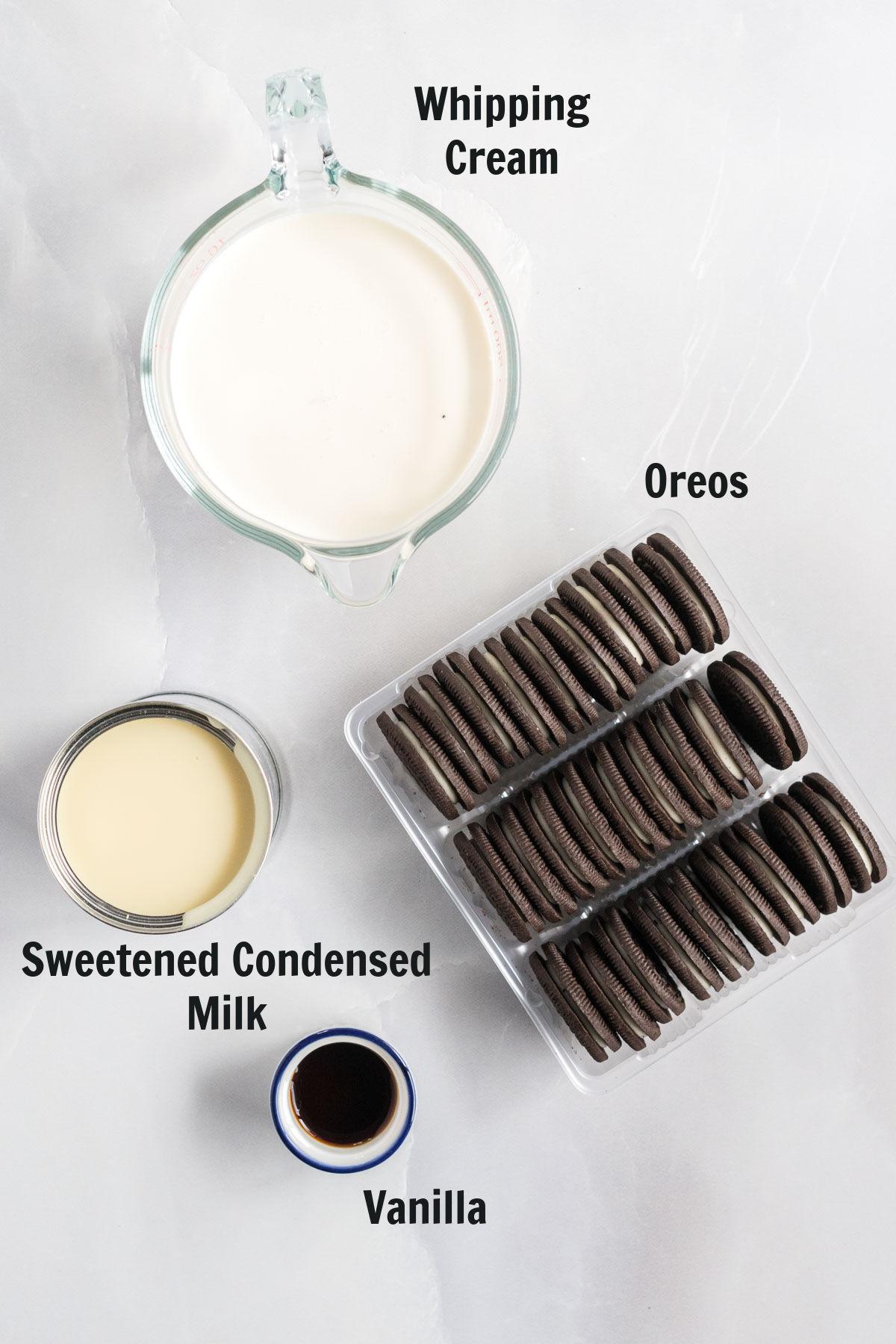Ingredients for oreo ice cream.