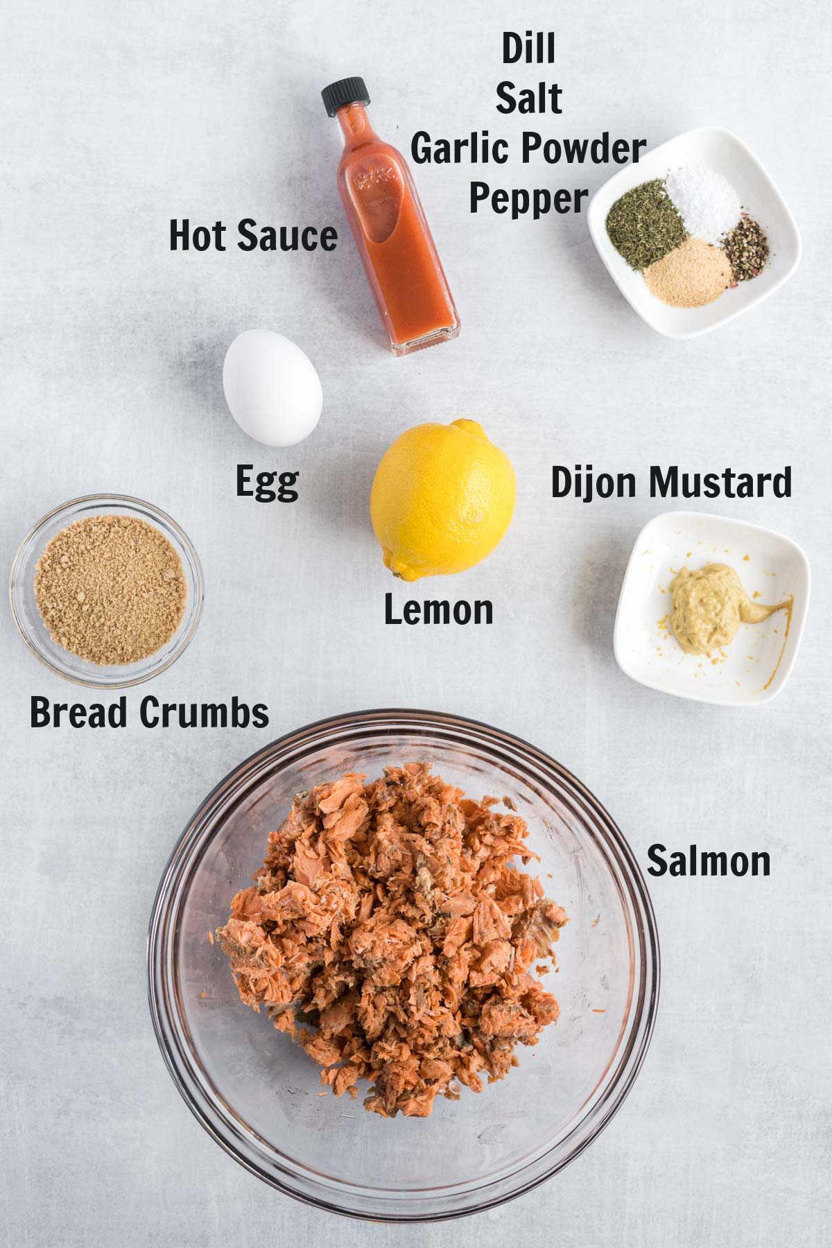 Ingredients to make salmon patties.
