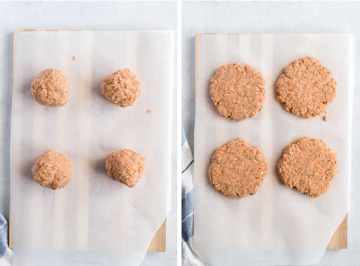 Forming salmon mixture into balls and pressing out into patties on parchment paper.