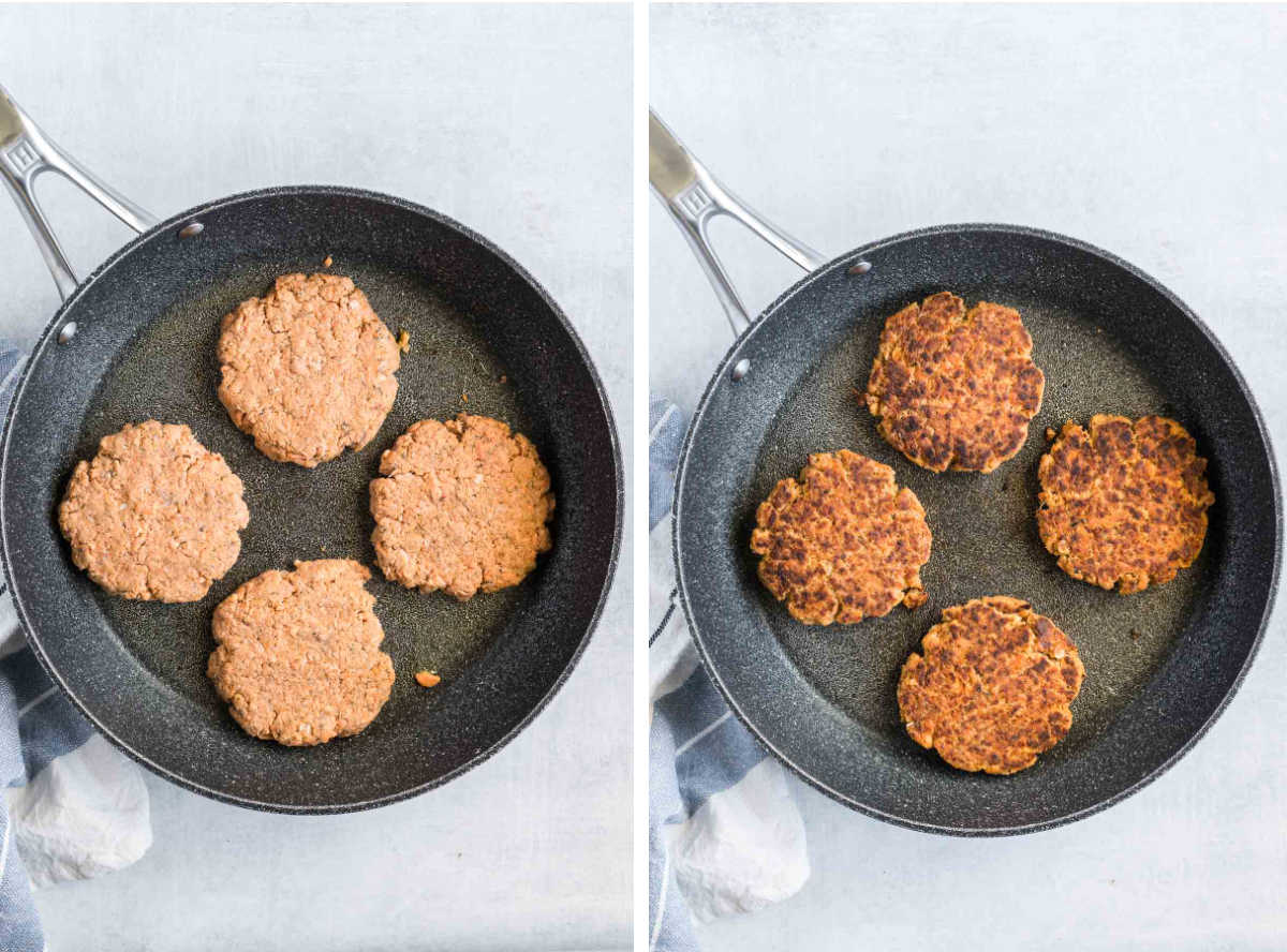 Four salmon patties in a non-stick pan before and after cooking.