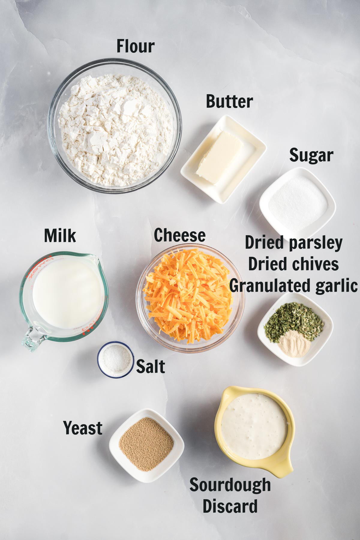 Ingredients for cheese bread.